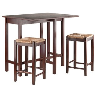 Bettencourt 3 Piece Counter Height Solid Wood Dining Set Red Barrel Studio