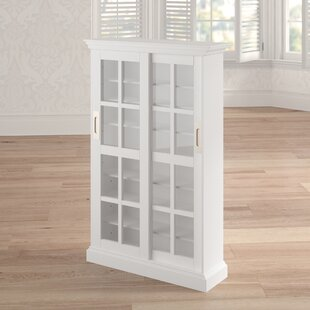 Sliding Door Multimedia Cabinet in White Laurel Foundry Modern Farmhouse