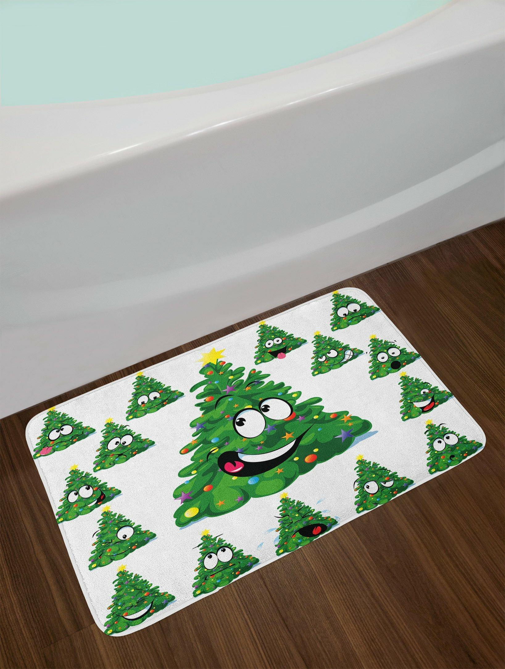 Christmas Green Yellow White Christmas Bath Rug