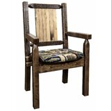 Abella Solid Wood Slat Back Arm Chair in Brown by Loon Peak®