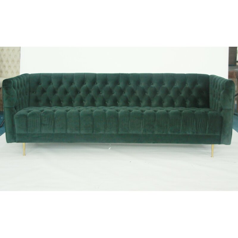 Everly Quinn Conard Velvet 83 Tuxedo Arms Sofa Wayfair