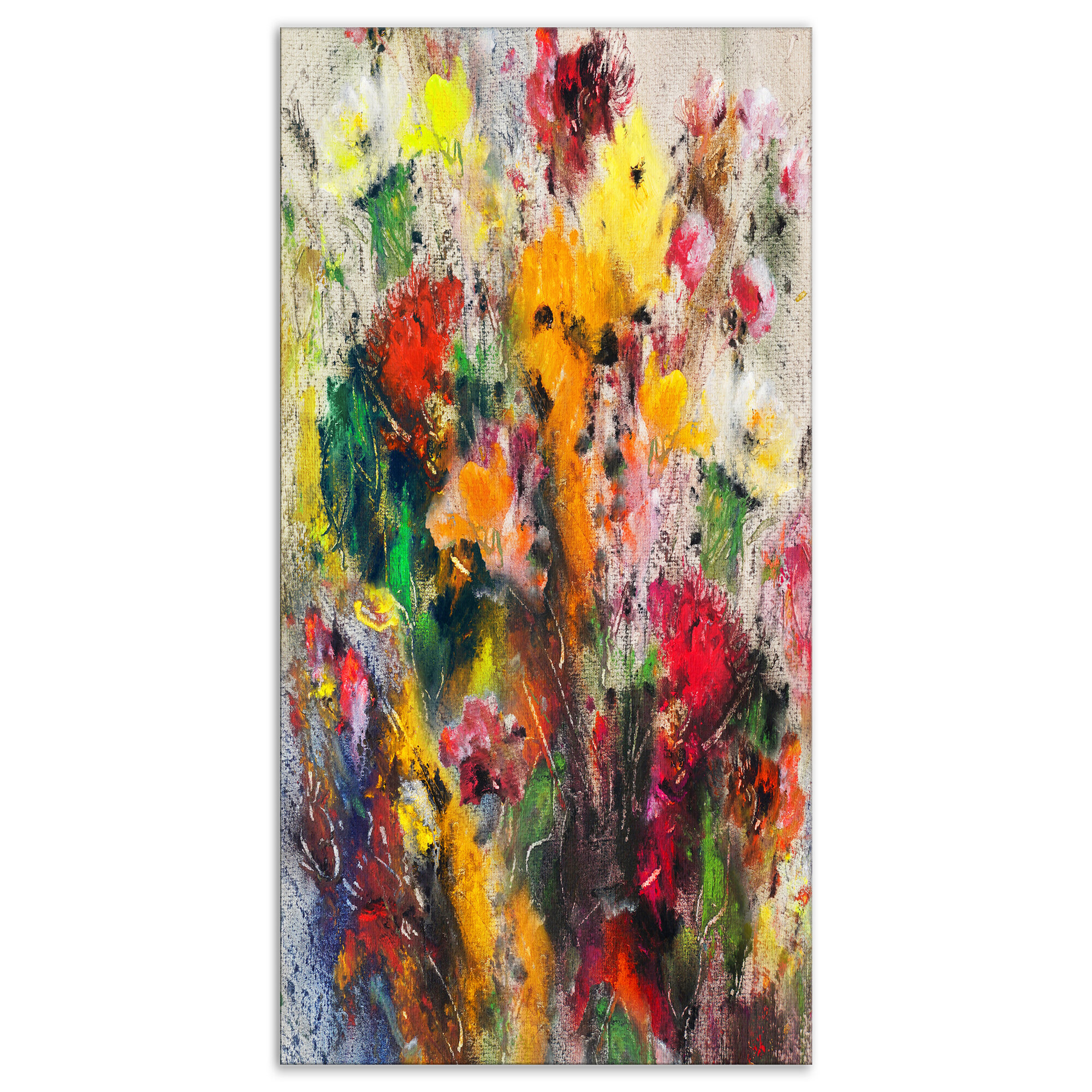 Floral Flowers Abstract Painting Oil Painting Print On Wrapped Canvas
