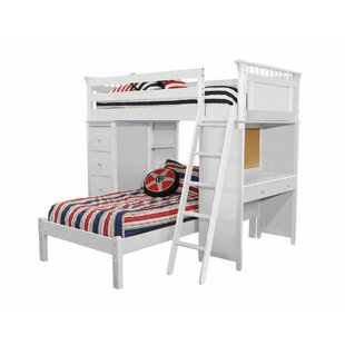 Shop For Bonneau Twin Over Twin Bunk Bed with Cases and Lower Platform By Harriet Bee