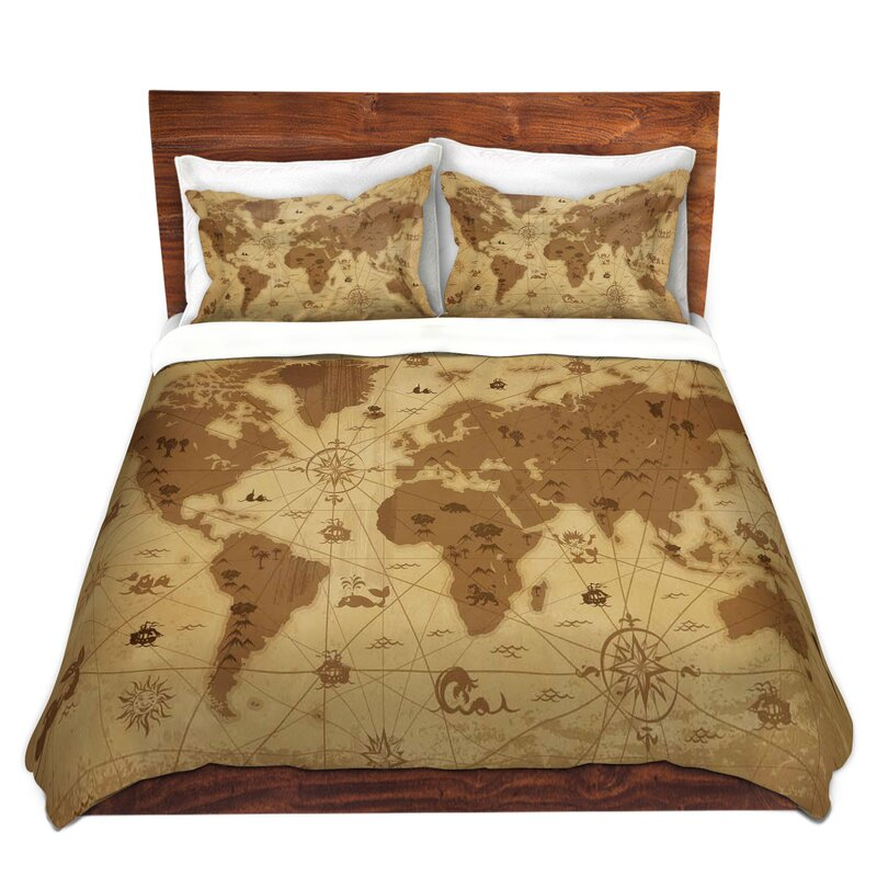 DiaNocheDesigns Whimsical World Map I Duvet Cover Set | Wayfair