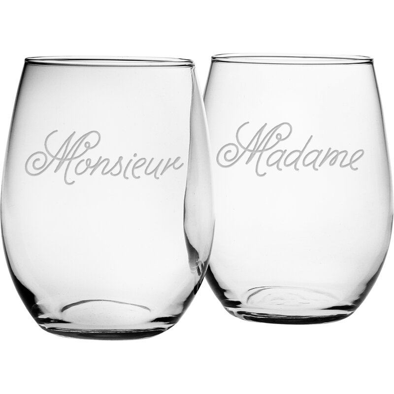 Monsieur and Madame 2 Piece 21 oz. Stemless Wine Glass Set