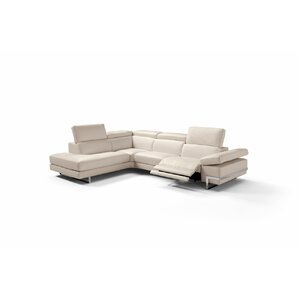 Versha Leather Reclining Sectional by Orren Ellis