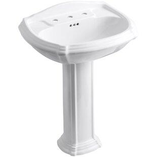 Price comparison Portrait® Ceramic 27 Pedestal Bathroom Sink with Overflow By Kohler