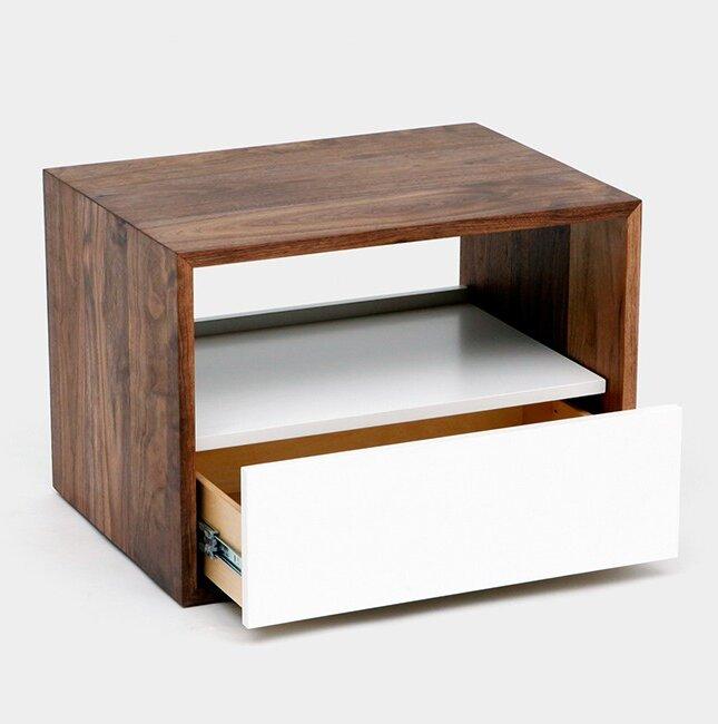 THN 1 - Drawer Solid Wood Nightstand in Black/Brown