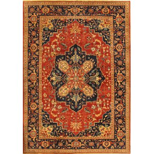 Serapi Hand-Knotted Wool Rust/Black Area Rug Pasargad