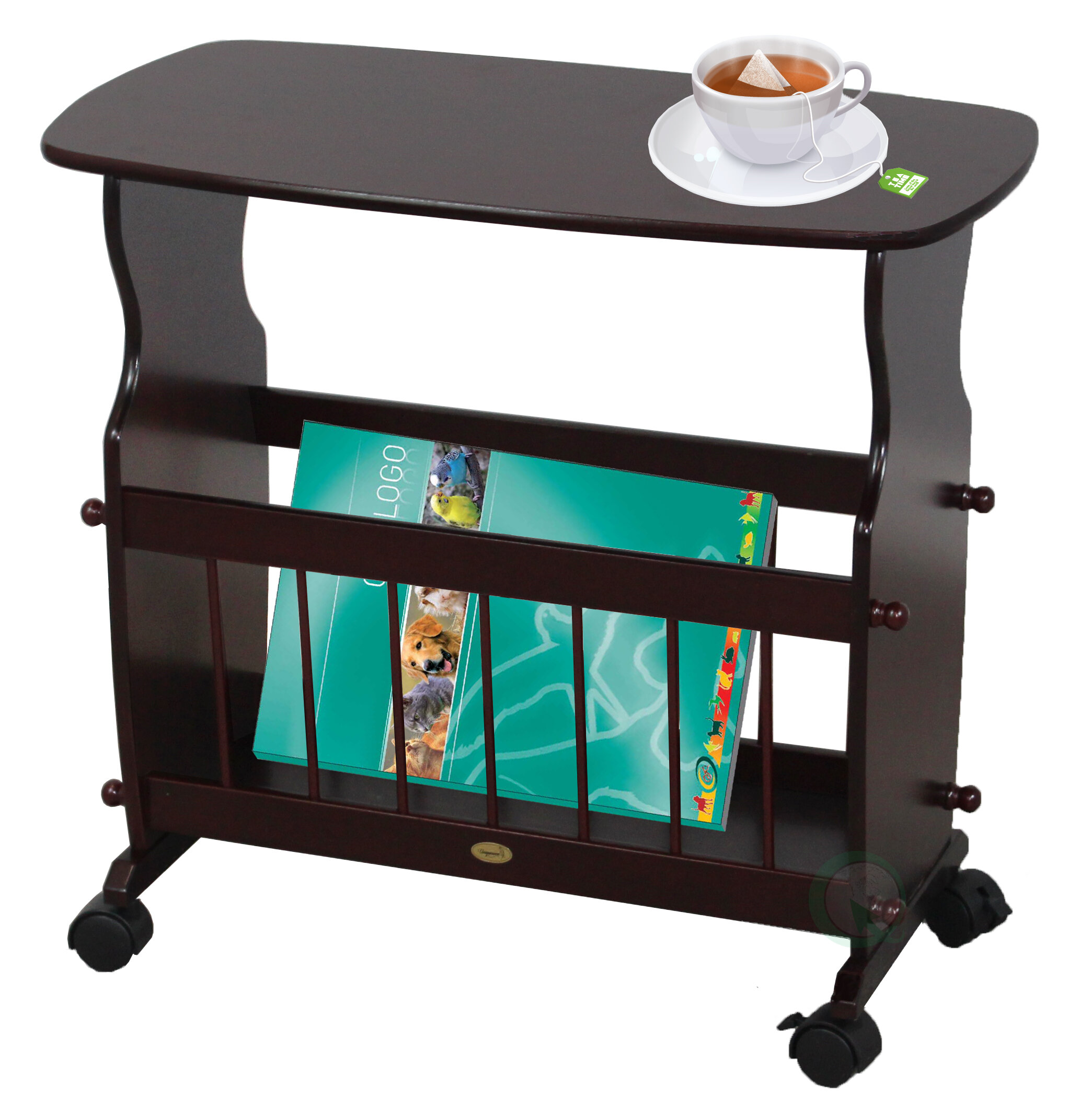 Uniquewise Wooden Magazine Rack Table with Rolling Casters | Wayfair