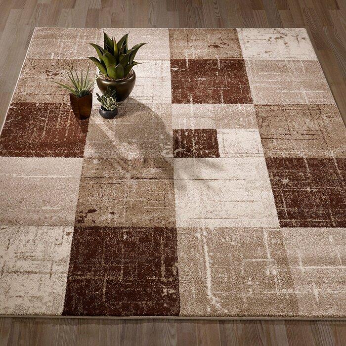 Mcwhirter Geometric Square Tiles Brown Beige Area Rug