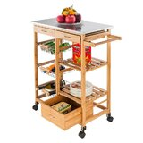 Mackie Cabinet Kitchen Cart with Stainless Steel Top by August Grove®