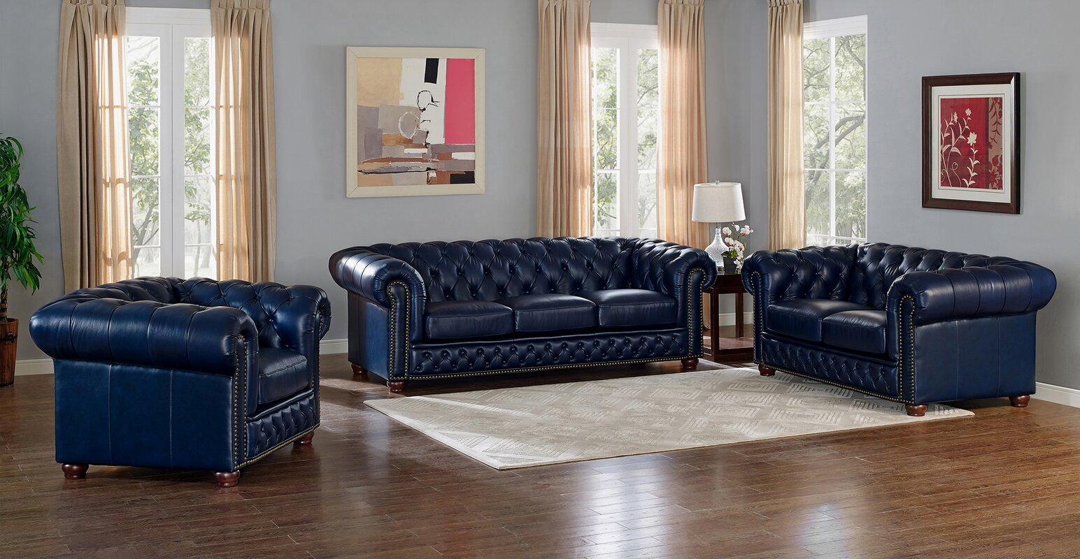 Captivating Forsyth Leather 2 Piece Living Room Set Part 18