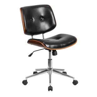 Reviews Ronin Ergonomic Wood Swivel Mid-Back Leather Desk Chair by George Oliver