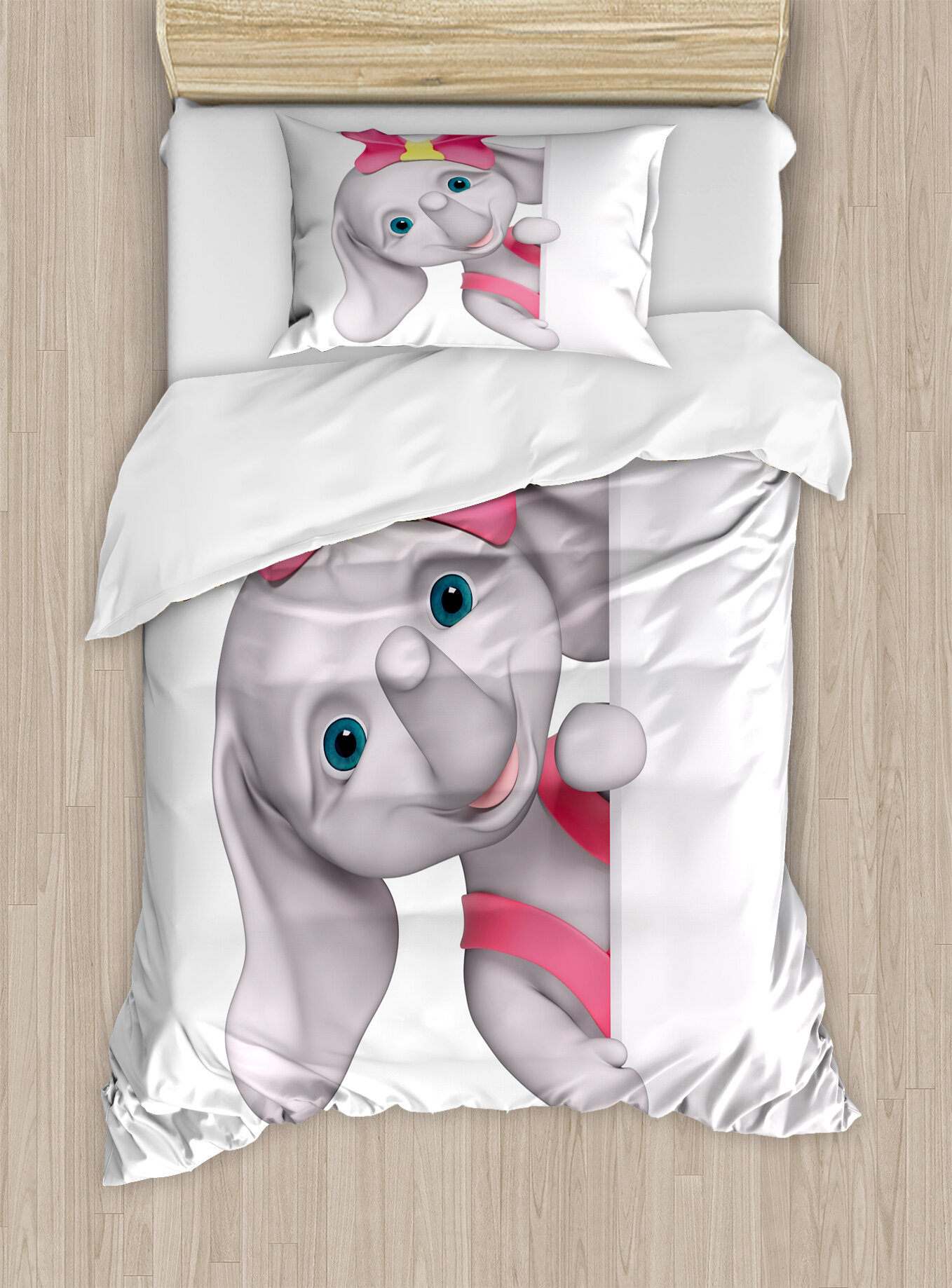 Ambesonne Elephant Nursery Funny Cartoon Character Animal