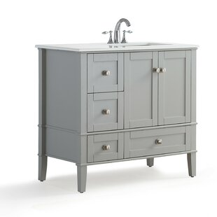 Chelsea Right Offset 37 Single Bathroom Vanity with Quartz Marble Top by Simpli Home