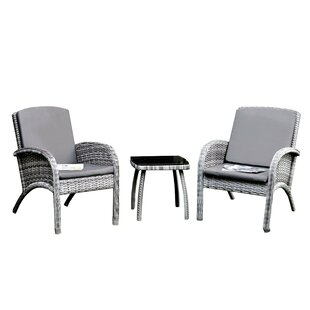 Finkelstein 3 Piece Rattan Conversation Set with Cushions