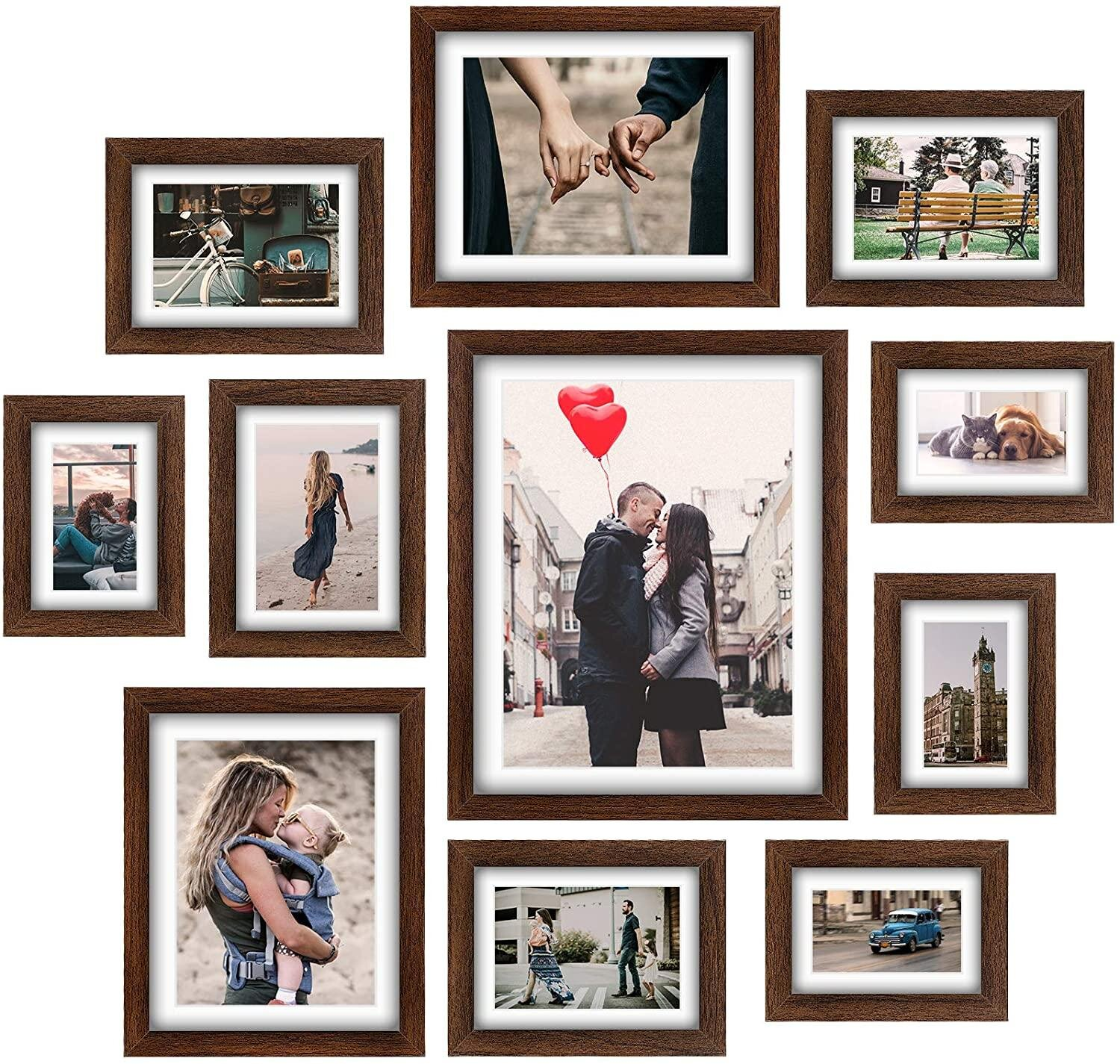 Picture Frames Collage Set   20 Pcs Rustic Wooden Photo Frame Gallery Wall  Frame Set For Tabletop Or Home Decor With Mat   Four 20X20 In  Four 20X20 In   ...