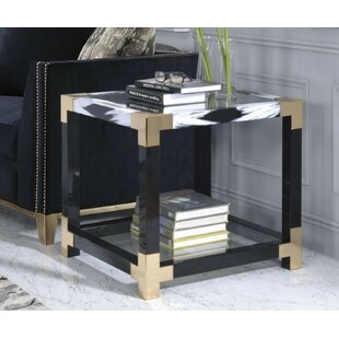Shanitaortia Modern Square Metal and Glass End Table