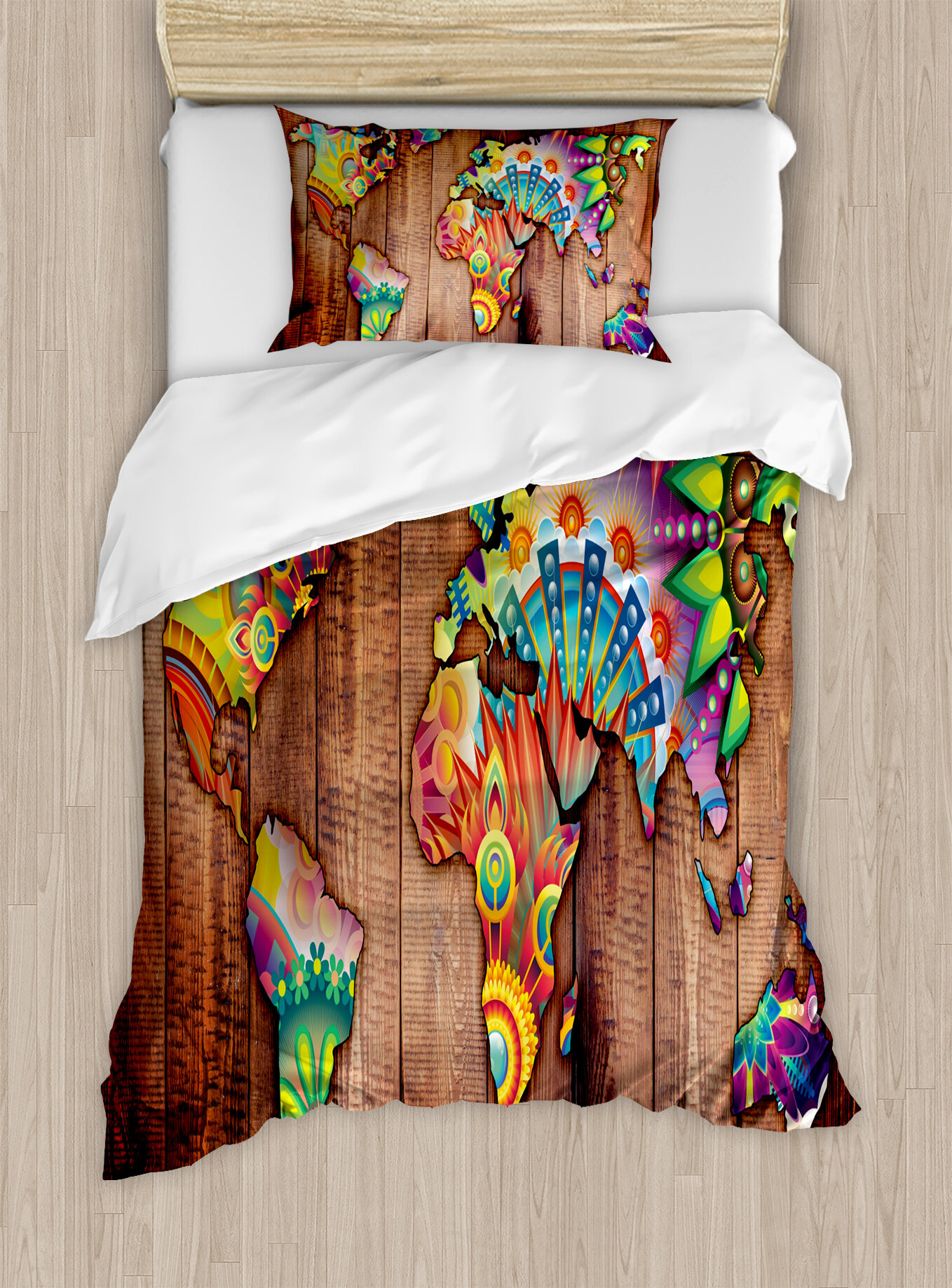 Bohemian World Map on Wooden Rustic Planks Background Creative Abstract  Countries Print Duvet Cover Set