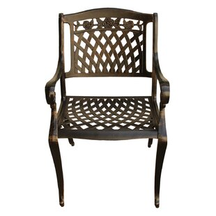 Casiano Rose Ornate Mesh Lattice Patio Dining Chair