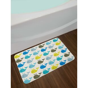 Colorful Whales Nursery Bath Rug