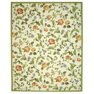 Helena Ivory/Green Area Rug by Charlton Home