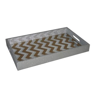 Rhoda Tray with Mirror Base with Chevron Overlay by Ebern Designs