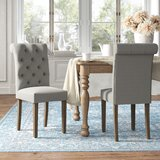 Jocelyn Roll Top Tufted Upholstered Side Chair (Set of 2) by Kelly Clarkson Home