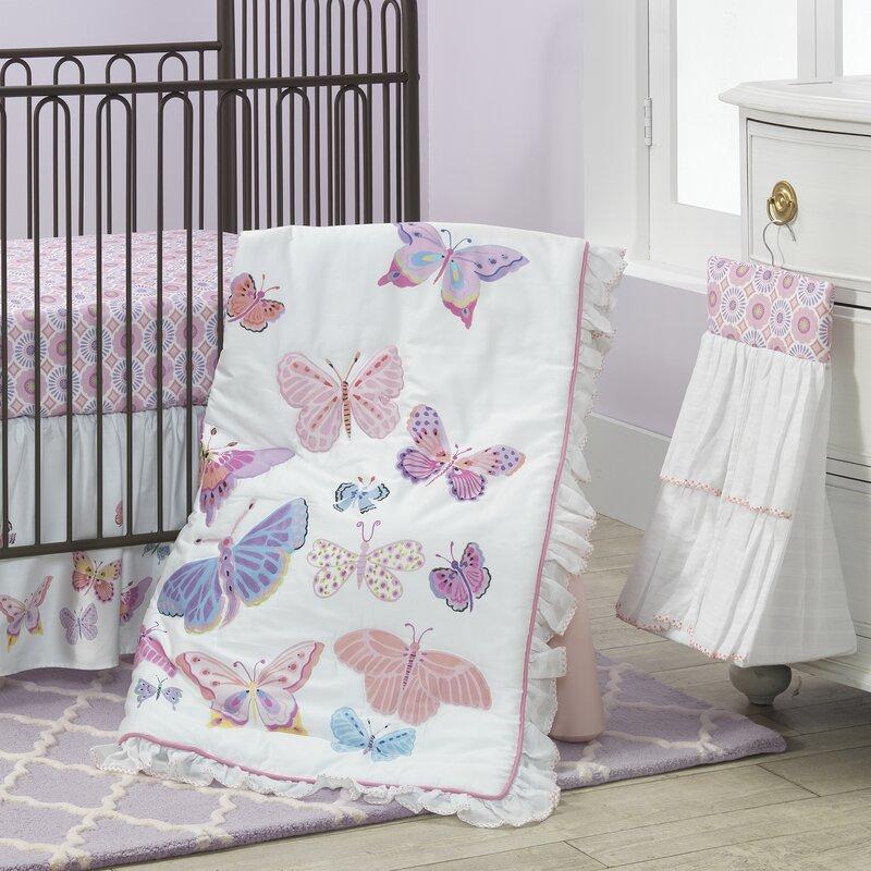 Butterfly Garden 4 Piece Crib Bedding Set