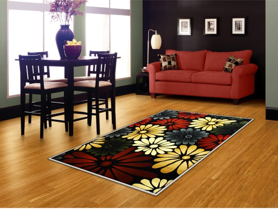 Rayan Flower Red Yellow Black Area Rug