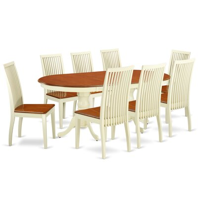 August Grove Pilcher Extendable Rubberwood Solid Wood Dining Set  Pieces Included: 9 Pieces: 1 Table, 8 Chairs