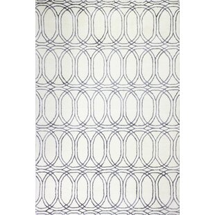 Top Reviews Leto Hand Tufted Cotton White/Slate Area Rug By Brayden Studio