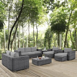 Alaia 9 Piece Rattan Sunbrella Sofa Seating Group with Cushions