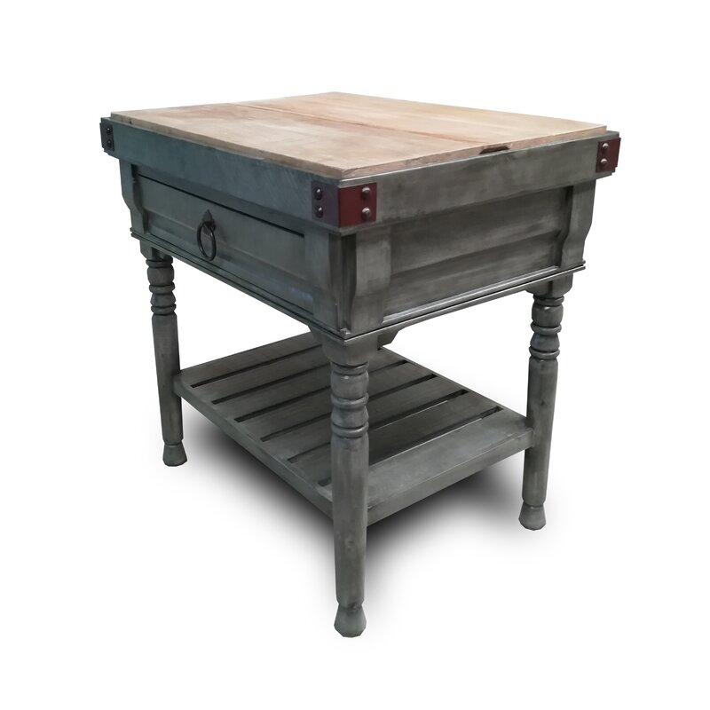 Brunton Kitchen Island with Butcher Block Top