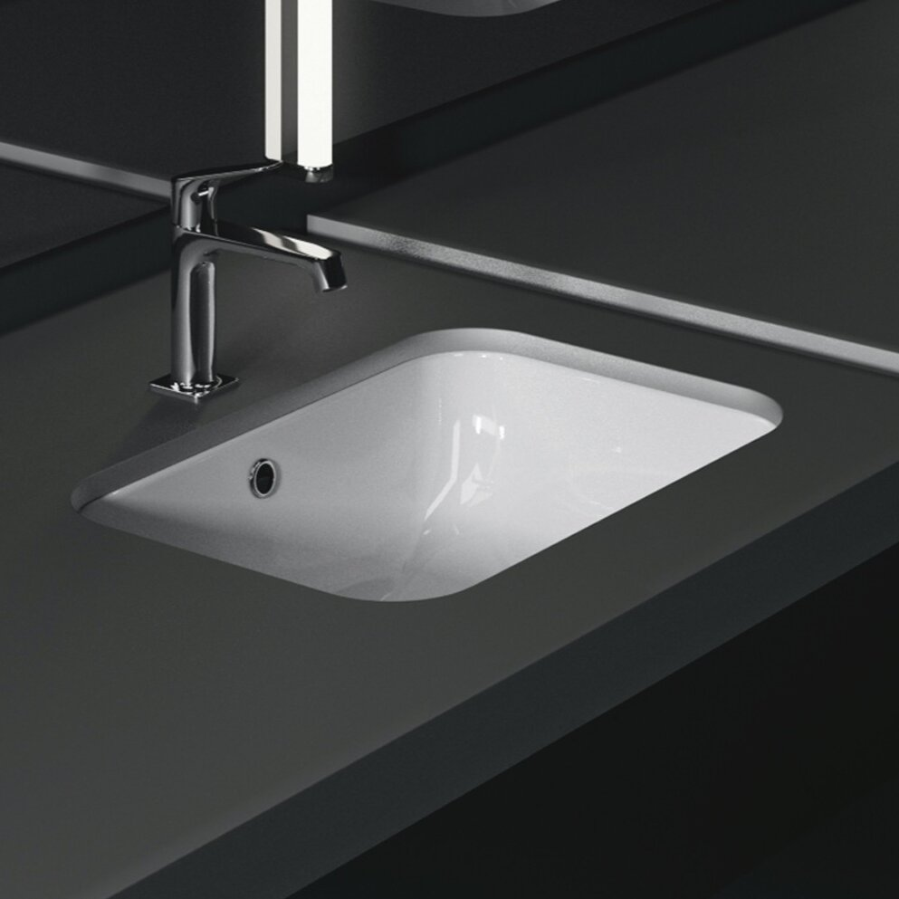 Gsi Collection Panorama Ceramic Rectangular Undermount Bathroom Sink With Overflow Wayfair