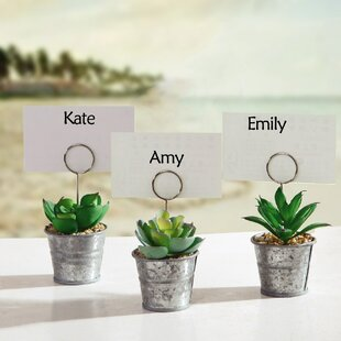 Succulents In Pot Table Sign Place Card Holder (Set Of 6)
