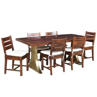 Valerie 7 Piece Solid Wood Dining Set Loon Peak