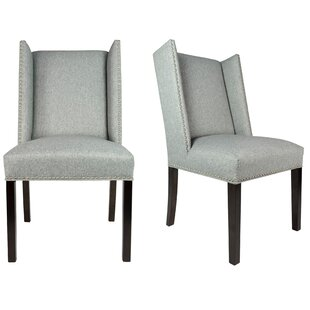 Winged Nail Head Spring Upholstered Side Chair (Set of 2)