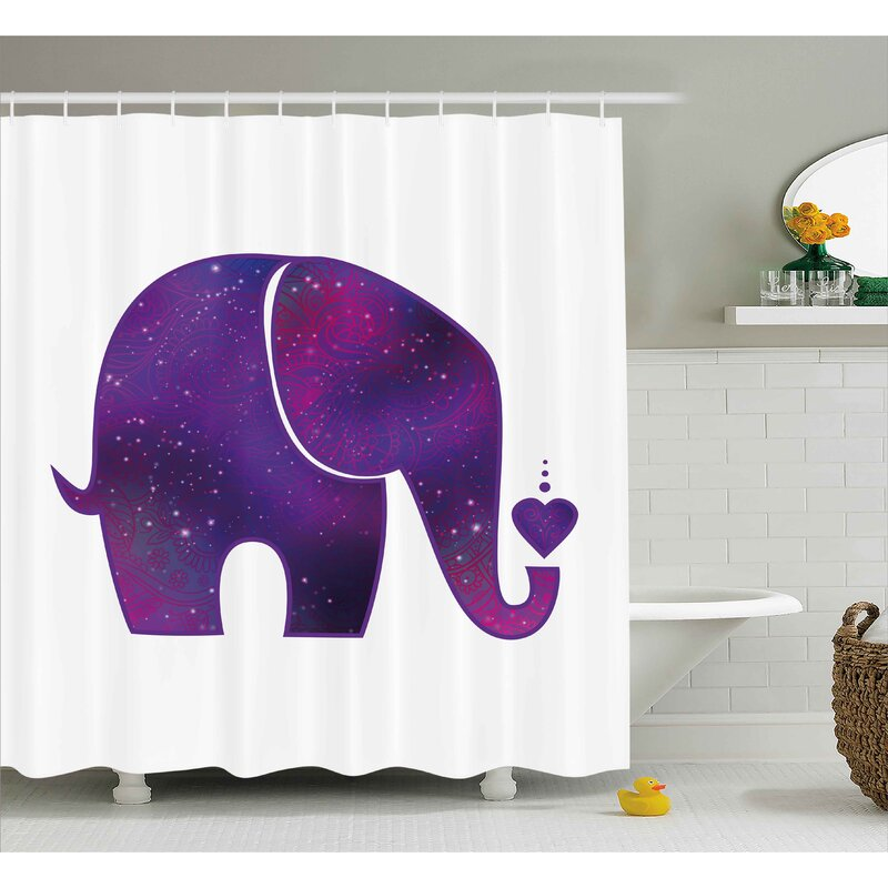Herta Elephant Indian Hearts Shower Curtain