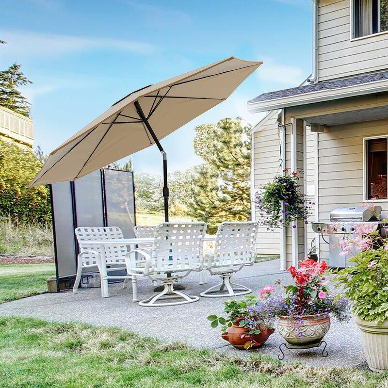 e05a1a6db349 Pure Garden Solar Powered LED Patio Umbrella & Reviews   Wayfair