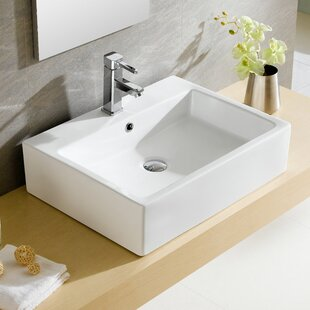 Big Save Modern Ceramic Rectangular Vessel Bathroom Sink with Overflow By Fine Fixtures
