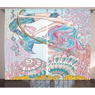 Tina Mermaid In Sea Semi Sheer Rod Pocket Curtain Panels Set Of 2