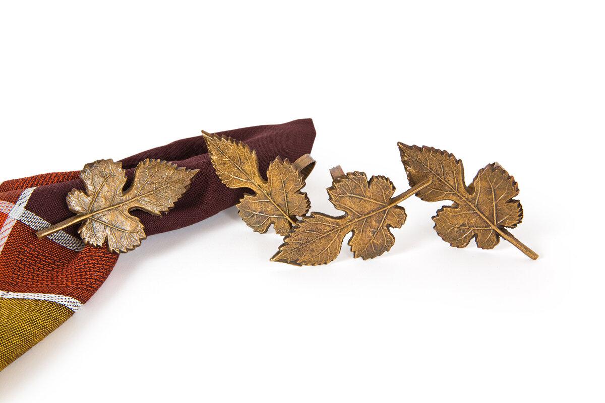 manor luxe autumn leaf metal fall napkin ring wayfair