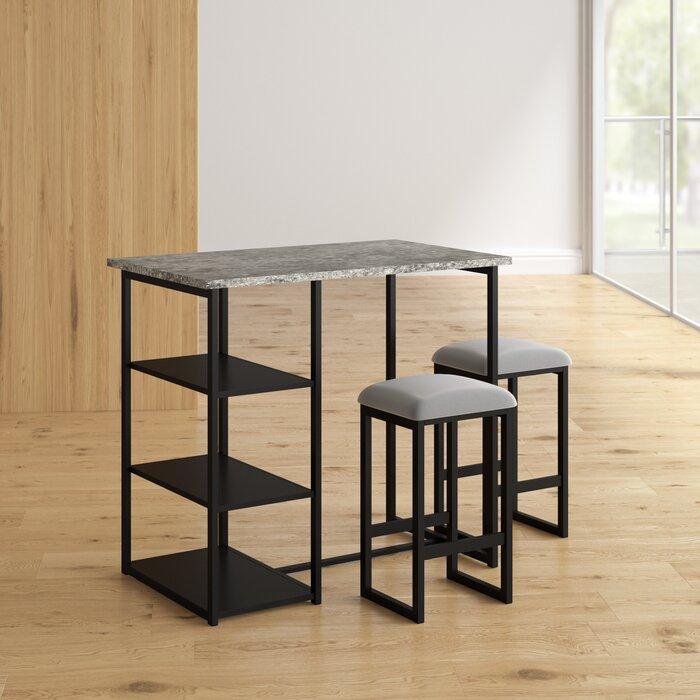 Strange Denham 3 Piece Grey Pub Table Set Download Free Architecture Designs Xoliawazosbritishbridgeorg