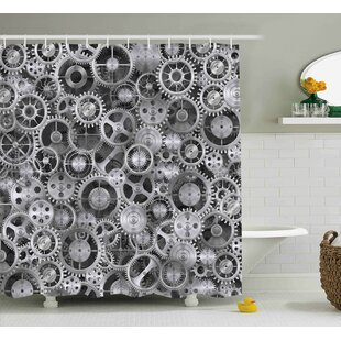 Breene Clock a Background With Metal Realistic Cogwheels Engineering and Technologic Theme Pattern Single Shower Curtain