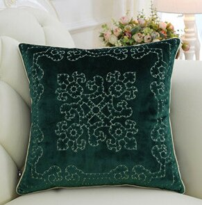 Luxury Embroidered Floral Throw Pillow Cover