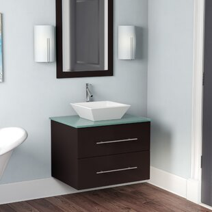 Reviews Colville 30 Single Bathroom Vanity Set with Tempered Glass Top and Mirror ByWade Logan