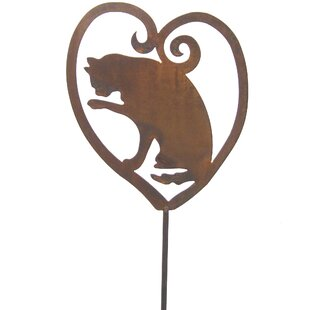 Attirant Cat Heart Metal Art Garden Stake