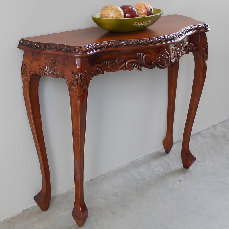 Luck Hand Carved Wood Console Table